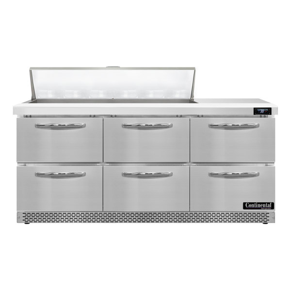 "Continental Refrigerator SW72-12-FB-D 72"" 6 Drawer Front Breathing Refrigerated Sandwich Prep Table Main Image 1"