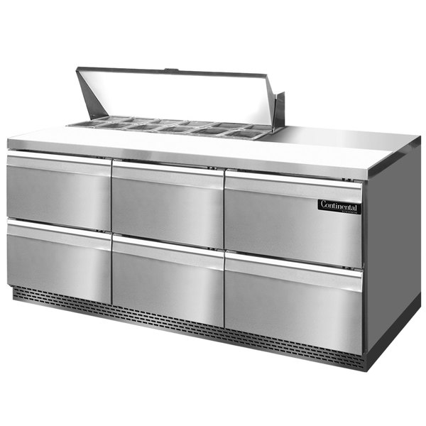 "Continental Refrigerator SW72-12-FB-D 72"" 6 Drawer Front Breathing Refrigerated Sandwich Prep Table"