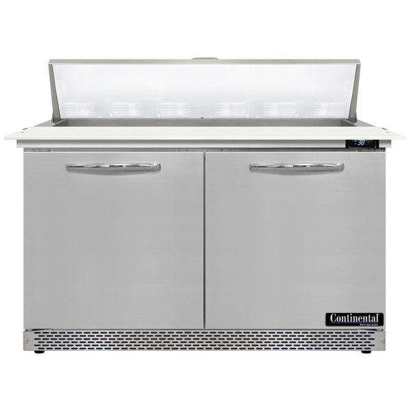 """Continental Refrigerator SW48-12C-FB 48"""" 2 Door Cutting Top Front Breathing Refrigerated Sandwich Prep Table"""