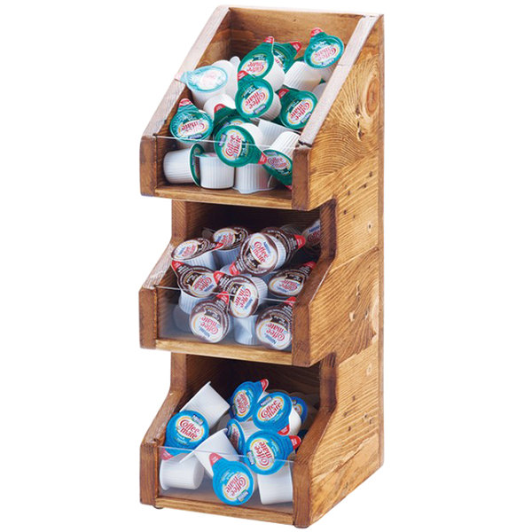 """Cal-Mil 2053-99 Madera Rustic Pine 3 Tier, 3 Bin Condiment Display with Clear Bin Face - 7"""" x 6"""" x 16"""" Main Image 1"""