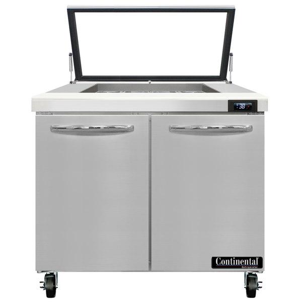 "Continental Refrigerator SW36-12M-HGL 36"" 2 Door Mighty Top Refrigerated Sandwich Prep Table"