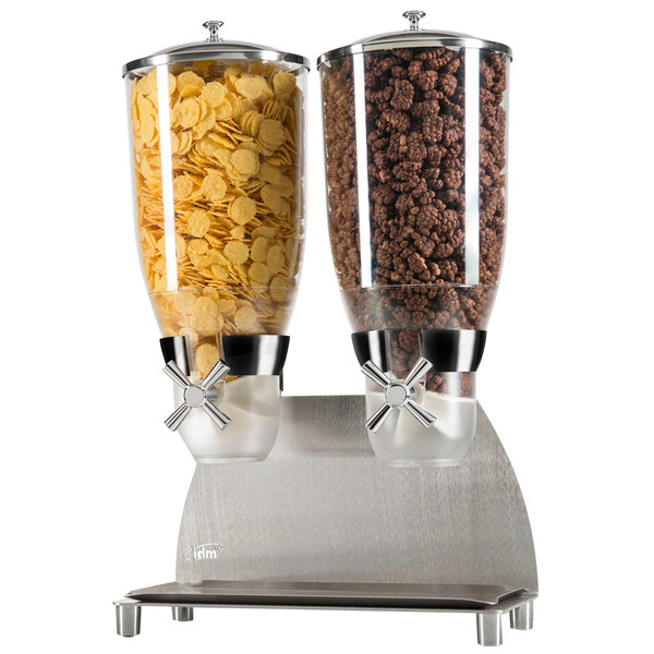 """Cal-Mil 3511-2-55 Stainless Steel Turn and Serve 2 Cylinder Cereal Dispenser - 12 1/4"""" x 6"""" x 17 3/4"""""""