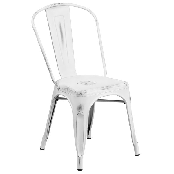 Flash Furniture ET-3534-WH-GG Distressed White Stackable Metal Chair with Vertical Slat Back and Drain Hole Seat Main Image 1