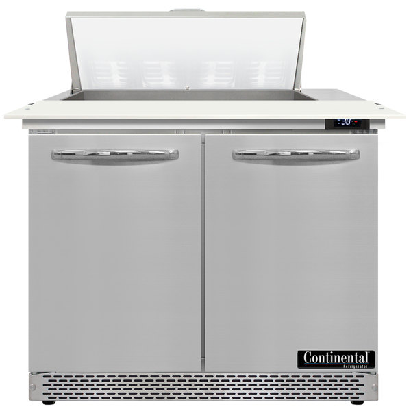 """Continental Refrigerator SW36-8C-FB 36"""" 2 Door Cutting Top Front Breathing Refrigerated Sandwich Prep Table Main Image 1"""