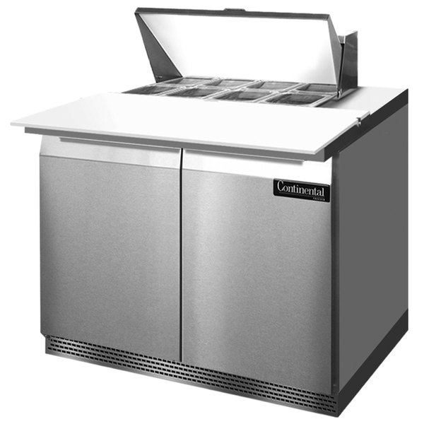 """Continental Refrigerator SW36-8C-FB 36"""" 2 Door Cutting Top Front Breathing Refrigerated Sandwich Prep Table"""