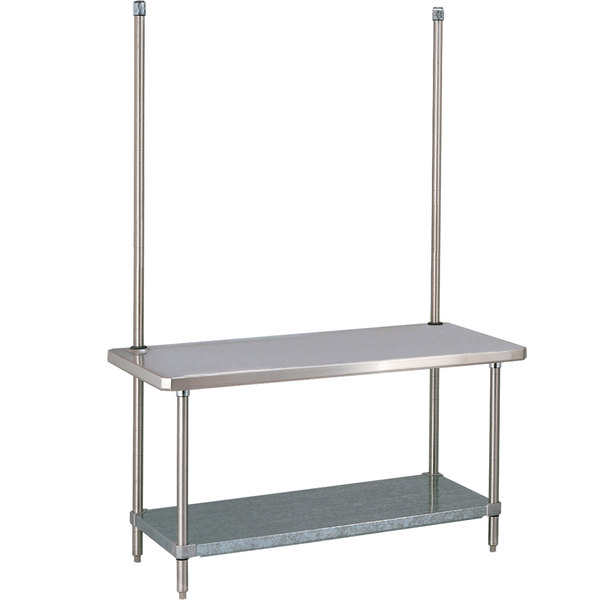 "14 Gauge Metro WTC309FC 30"" x 96"" HD Super Stainless Steel Work Table with Overhead and Galvanized Undershelf"