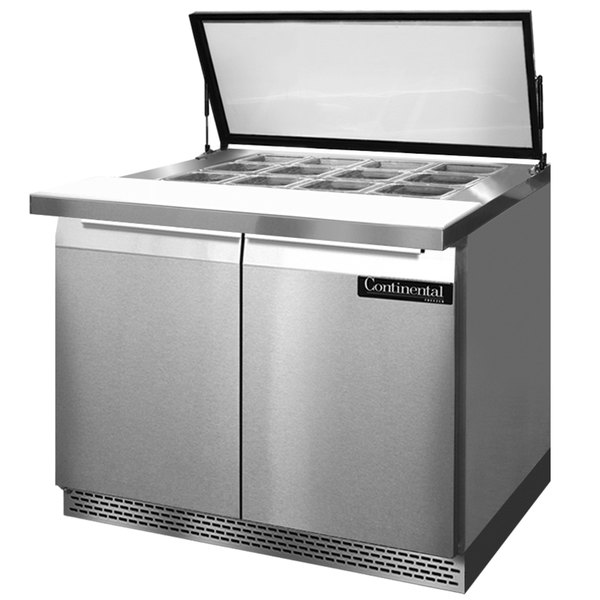 """Continental Refrigerator SW36-12M-HGL-FB 36"""" 2 Door Mighty Top Front Breathing Hinged Glass Lid Refrigerated Sandwich Prep Table"""