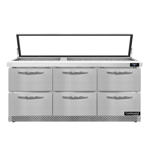 """Continental Refrigerator SW72-30M-HGL-FB-D 72"""" 6 Drawer Mighty Top Front Breathing Hinged Glass Lid Refrigerated Sandwich Prep Table"""