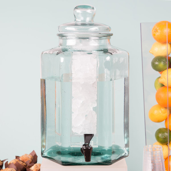 """Cal-Mil 3553ICE Glass 2 Gallon Beverage Dispenser with Ice Chamber - 9 7/8"""" x 11"""" x 17 1/4"""""""