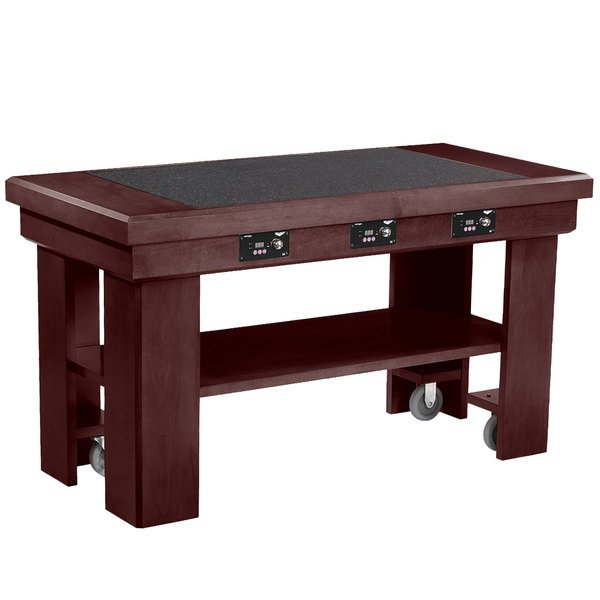 """Vollrath 7552284 60"""" Mahogany Induction Buffet Table with 3 Warmers - 120V"""