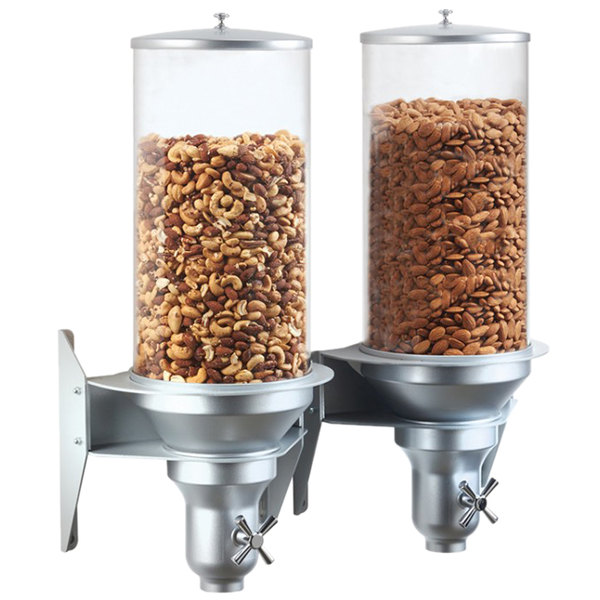"""Cal-Mil 3519-2-39 Platinum Wall Mount Turn and Serve 2 Bin Cereal Dispenser - 20 1/8"""" x 9 1/8"""" x 25 1/8"""""""
