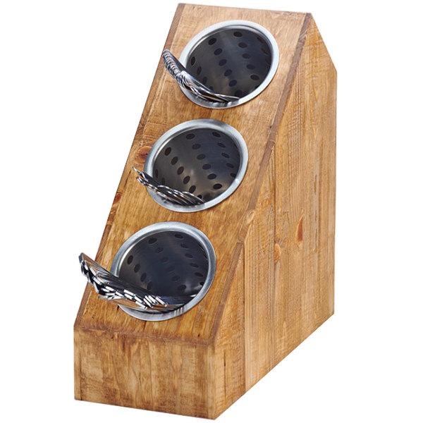 Cal-Mil 3423-3-99 Madera 3-Cylinder Slanted Flatware / Condiment Display Main Image 1
