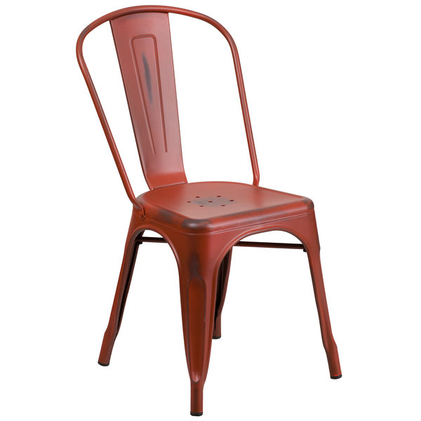 Flash Furniture ET-3534-RD-GG Distressed Kelly Red Stackable Metal Chair with Vertical Slat Back and Drain Hole Seat