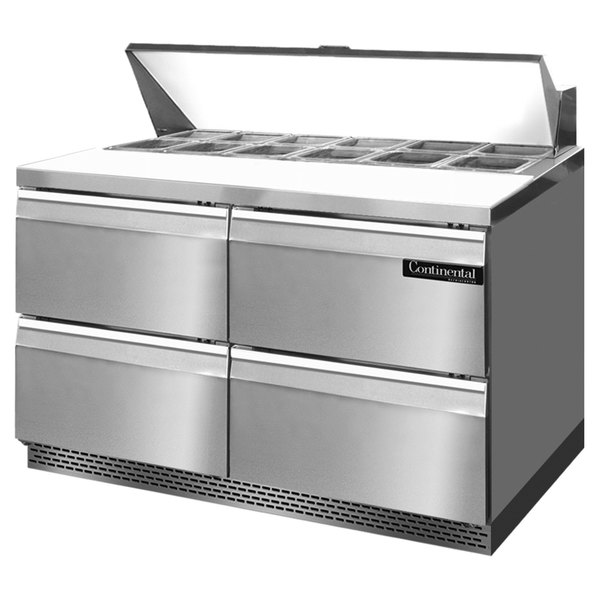 """Continental Refrigerator SW48-12-FB-D 48"""" 4 Drawer Front Breathing Refrigerated Sandwich Prep Table"""