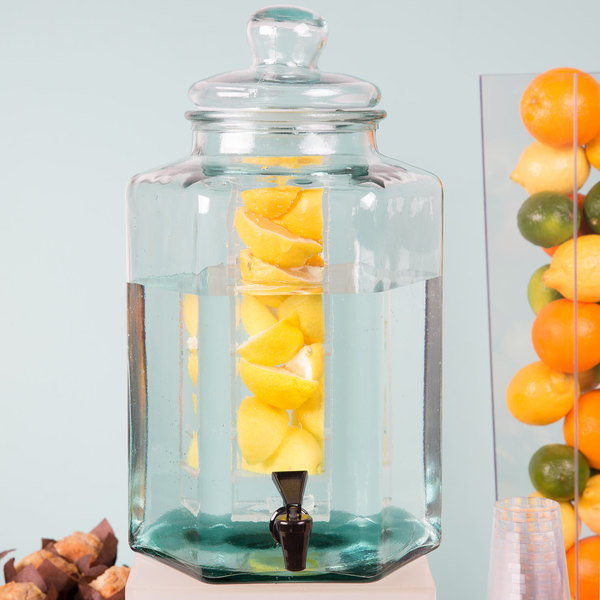 """Cal-Mil 3553INF Glass 2 Gallon Beverage Dispenser with Infusion Chamber - 9 7/8"""" x 11"""" x 17 1/4"""""""