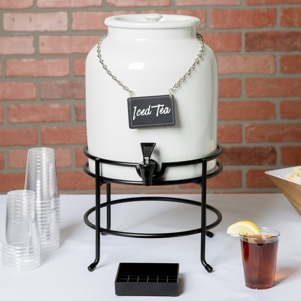 "Cal-Mil 3460-1-13 White 1.5 Gallon Porcelain Beverage Dispenser with Wire Stand - 10"" x 10"" x 18"""