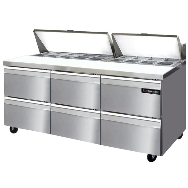 "Continental Refrigerator SW72-18-D 72"" 6 Drawer Refrigerated Sandwich Prep Table"