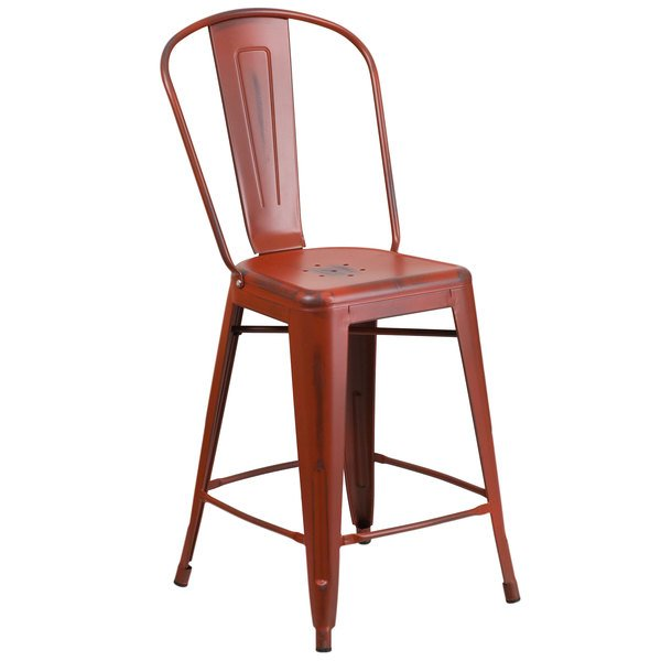 flash furniture distressed kelly red metal counter height stool with vertical slat