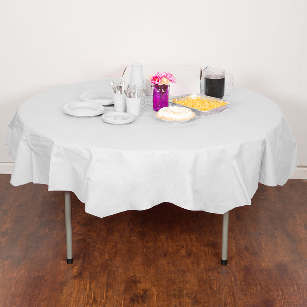 "Creative Converting 923272 82"" White OctyRound Tissue / Poly Table Cover"