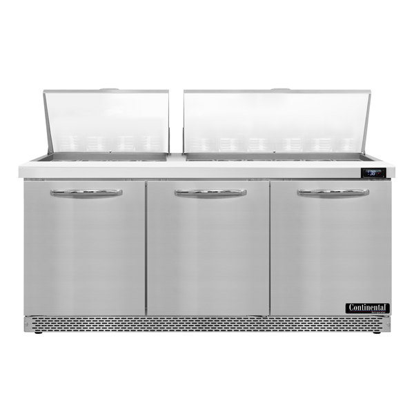 """Continental Refrigerator SW72-30M-FB 72"""" 3 Door Mighty Top Front Breathing Refrigerated Sandwich Prep Table Main Image 1"""