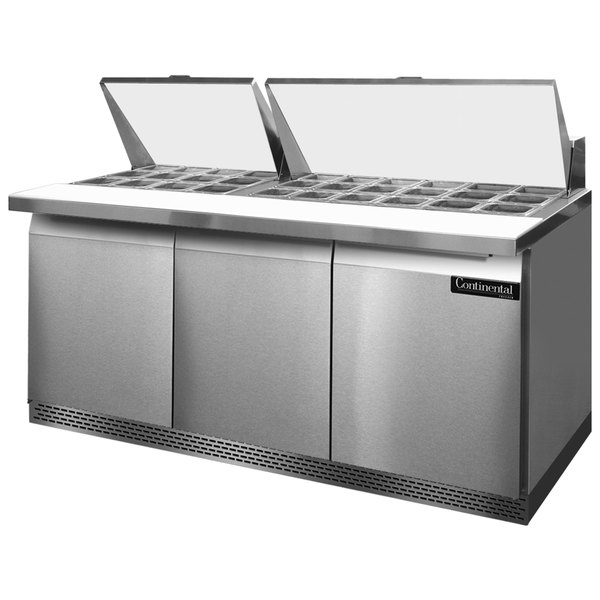 """Continental Refrigerator SW72-30M-FB 72"""" 3 Door Mighty Top Front Breathing Refrigerated Sandwich Prep Table"""