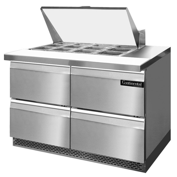 """Continental Refrigerator SW48-12M-FB-D 48"""" 4 Drawer Mighty Top Front Breathing Refrigerated Sandwich Prep Table"""