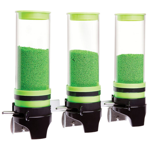 "Cal-Mil 3525-3-40 Green 3 Cylinder Topping Click Dispenser - 15 3/4"" x 7 1/4"" x 12"""