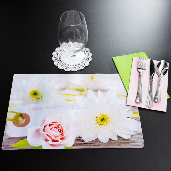 """Hoffmaster 856779 10"""" x 14"""" Mother's Day Placemat Combo Pack - 250/Case"""