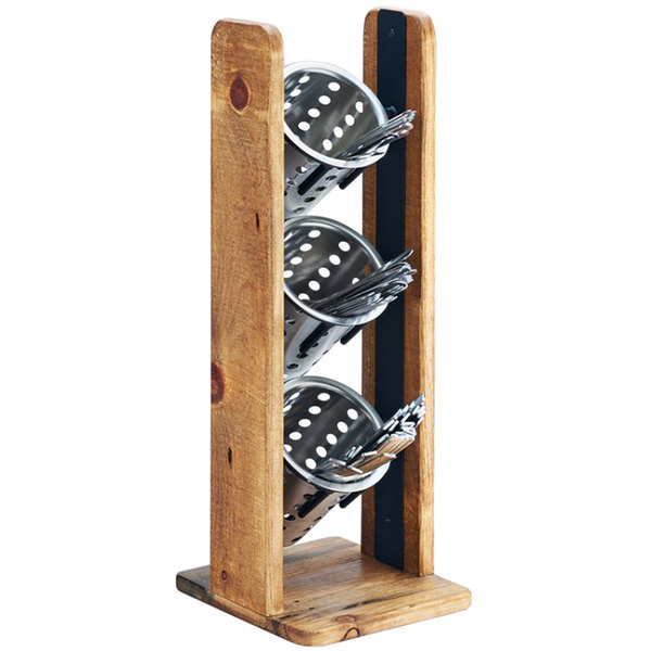 """Cal-Mil 3411-99 Madera Reclaimed Wood 3 Cylinder Flatware / Condiment Stand - 7 1/4"""" x 7 3/4"""" x 20 1/2"""""""