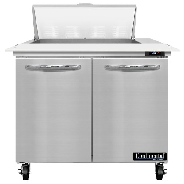 """Continental Refrigerator SW36-8C 36"""" 2 Door Cutting Top Refrigerated Sandwich Prep Table"""