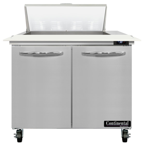 "Continental Refrigerator SW36-8C 36"" 2 Door Cutting Top Refrigerated Sandwich Prep Table Main Image 1"