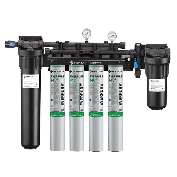 Everpure EV9437-11 High Flow CSR Quad-MC2 Water Filtration System with Pre-Filter and Low Pressure Alarm - .5 Micron and 6.7 GPM
