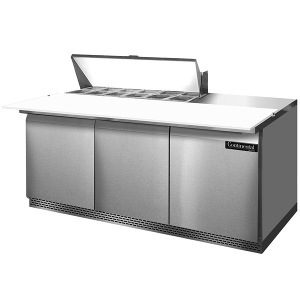 """Continental Refrigerator SW72-12C-FB 72"""" 3 Door Cutting Top Front Breathing Refrigerated Sandwich Prep Table"""