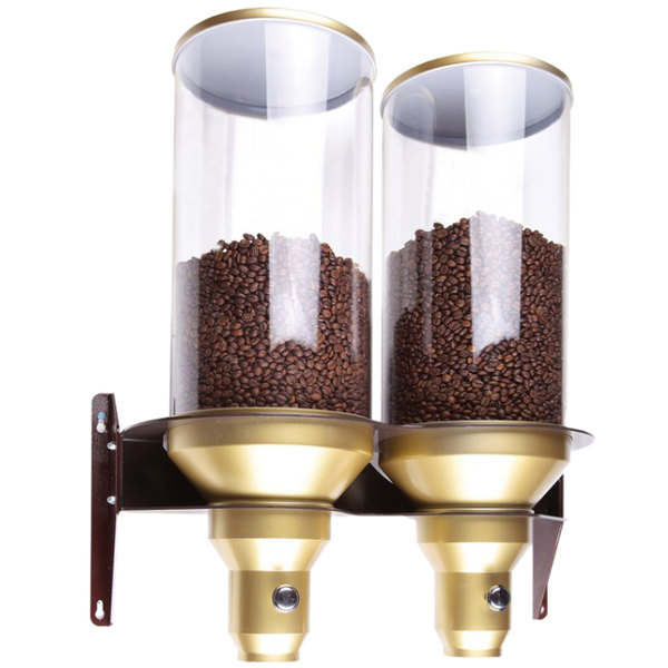 "Cal-Mil 3529-2-11 Gold Wall Mount 2 Cylinder Coffee Bean Dispenser - 20 1/4"" x 9 1/8"" x 25 1/4"""