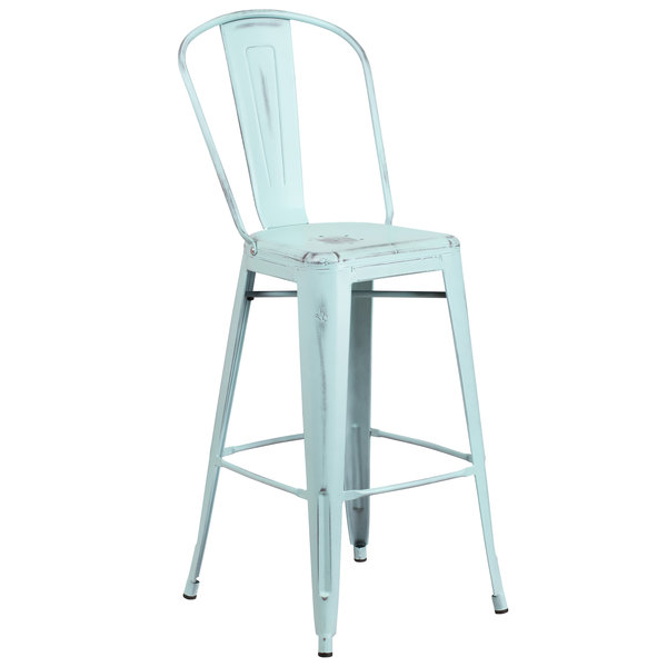 Flash Furniture ET-3534-30-DB-GG Distressed Green Blue Metal Bar Height Stool with Vertical Slat Back and Drain Hole Seat Main Image 1
