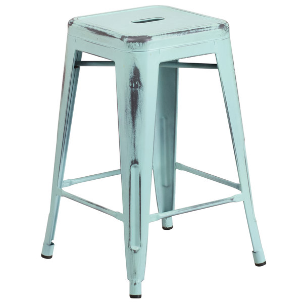Flash Furniture ET-BT3503-24-DB-GG Distressed Green Blue Stackable Metal Counter Height Stool with Drain Hole Seat Main Image 1