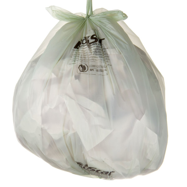 """33 Gallon 33"""" X 39"""" Compostable Trash Can Liner 1 Mil - 100/Case"""