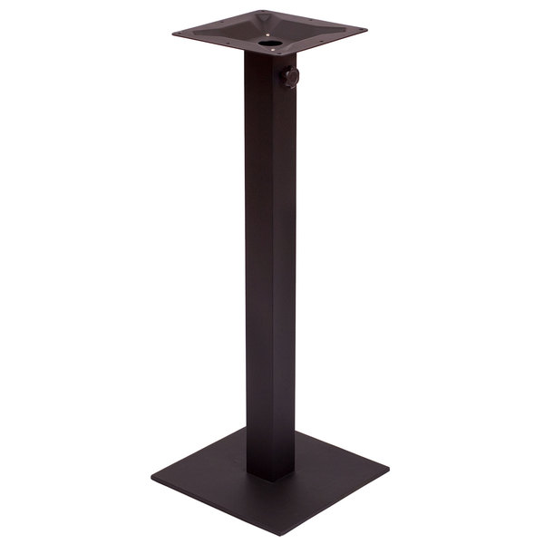 """BFM Seating PHTB24SQBLTU Margate Bar Height Outdoor / Indoor 24"""" Black Square Table Base with Umbrella Hole"""
