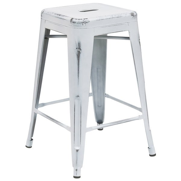 Flash Furniture ET-BT3503-24-WH-GG Distressed White Stackable Metal Counter Height Stool with Drain Hole Seat