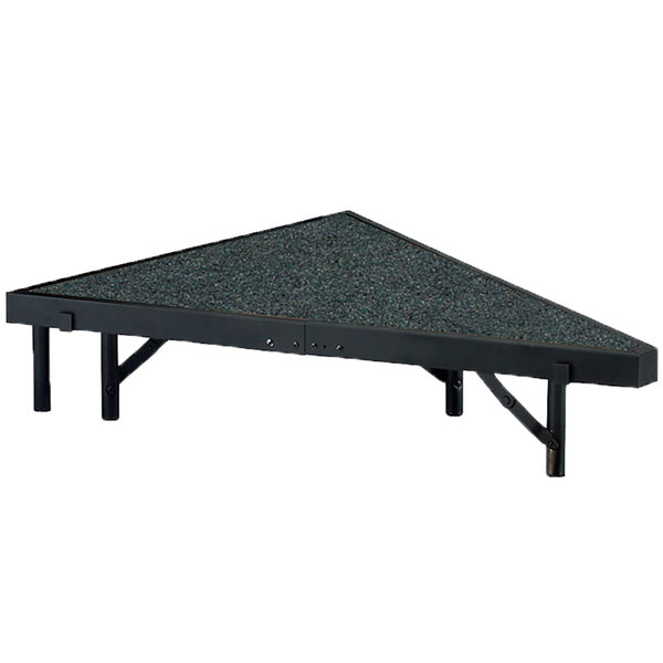 """National Public Seating SP368C Portable Stage Pie Unit with Gray Carpet - 36"""" x 8"""""""