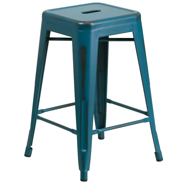Flash Furniture ET-BT3503-24-KB-GG Distressed Kelly Blue Stackable Metal Counter Height Stool with Drain Hole Seat Main Image 1