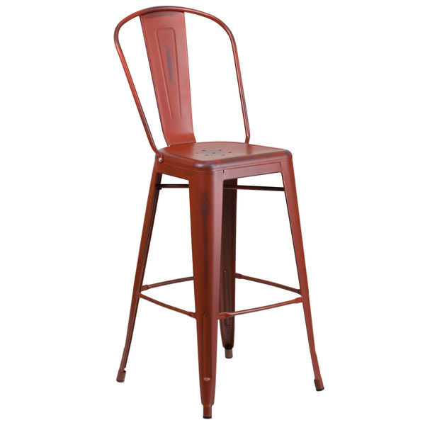 Flash Furniture ET-3534-30-RD-GG Distressed Kelly Red Metal Bar Height Stool with Vertical Slat Back and Drain Hole Seat Main Image 1