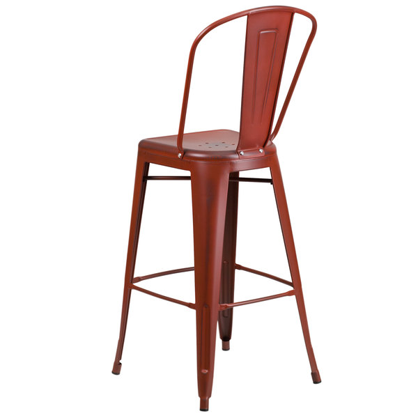 Super Flash Furniture Et 3534 30 Rd Gg Distressed Kelly Red Metal Bar Height Stool With Vertical Slat Back And Drain Hole Seat Cjindustries Chair Design For Home Cjindustriesco