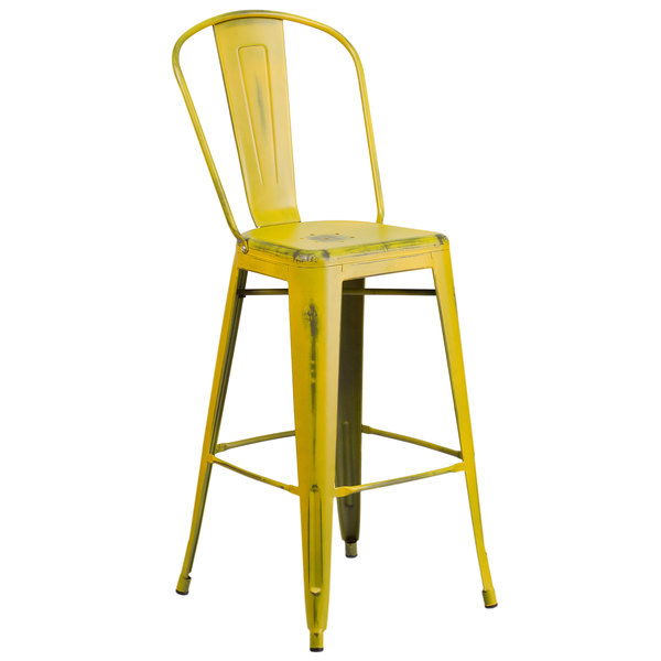 Flash Furniture ET-3534-30-YL-GG Distressed Yellow Metal Bar Height Stool with Vertical Slat Back and Drain Hole Seat Main Image 1