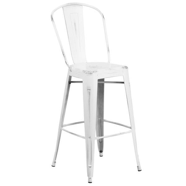 Flash Furniture ET-3534-30-WH-GG Distressed White Metal Bar Height Stool with Vertical Slat Back ...  sc 1 st  Webstaurant Store & Furniture ET-3534-30-WH-GG Distressed White Metal Bar Height Stool ... islam-shia.org