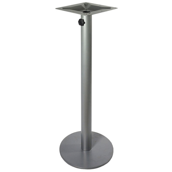 "BFM Seating PHTB24RSVTU Margate Bar Height Outdoor / Indoor 24"" Silver Round Table Base with Umbrella Hole"