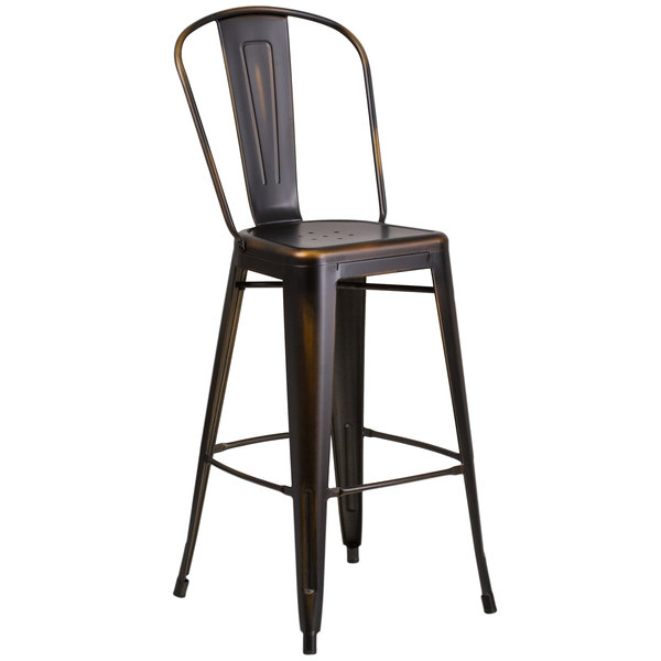 Flash Furniture ET-3534-30-COP-GG Distressed Copper Metal Bar Height Stool with Vertical Slat Back and Drain Hole Seat Main Image 1