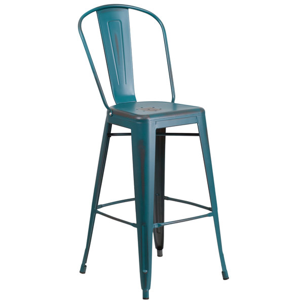 Flash Furniture ET-3534-30-KB-GG Distressed Kelly Blue-Teal Metal Bar Height Stool with Vertical Slat Back and Drain Hole Seat Main Image 1
