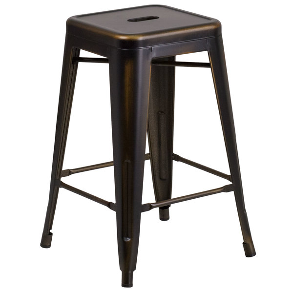 Surprising Flash Furniture Et Bt3503 24 Cop Gg Distressed Copper Stackable Metal Counter Height Stool With Drain Hole Seat Gmtry Best Dining Table And Chair Ideas Images Gmtryco