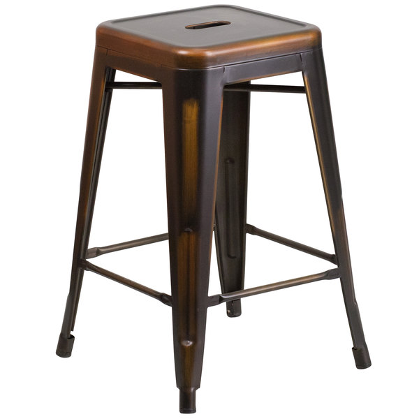 flash furniture distressed copper stackable metal counter height stool with drain hole seat